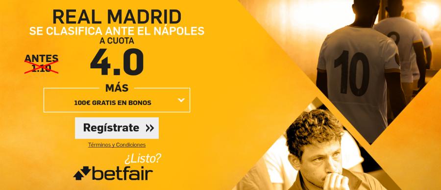 Cuotas Nápoles-Real Madrid Los Blancos se clasifican a 4.0
