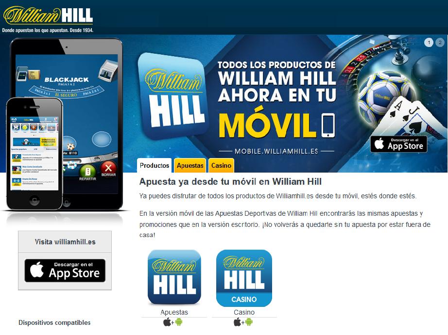 todos los juegos de casino en la app de William Hill