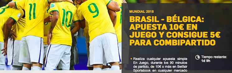 Brasil v Bélgica Bonus Betfair