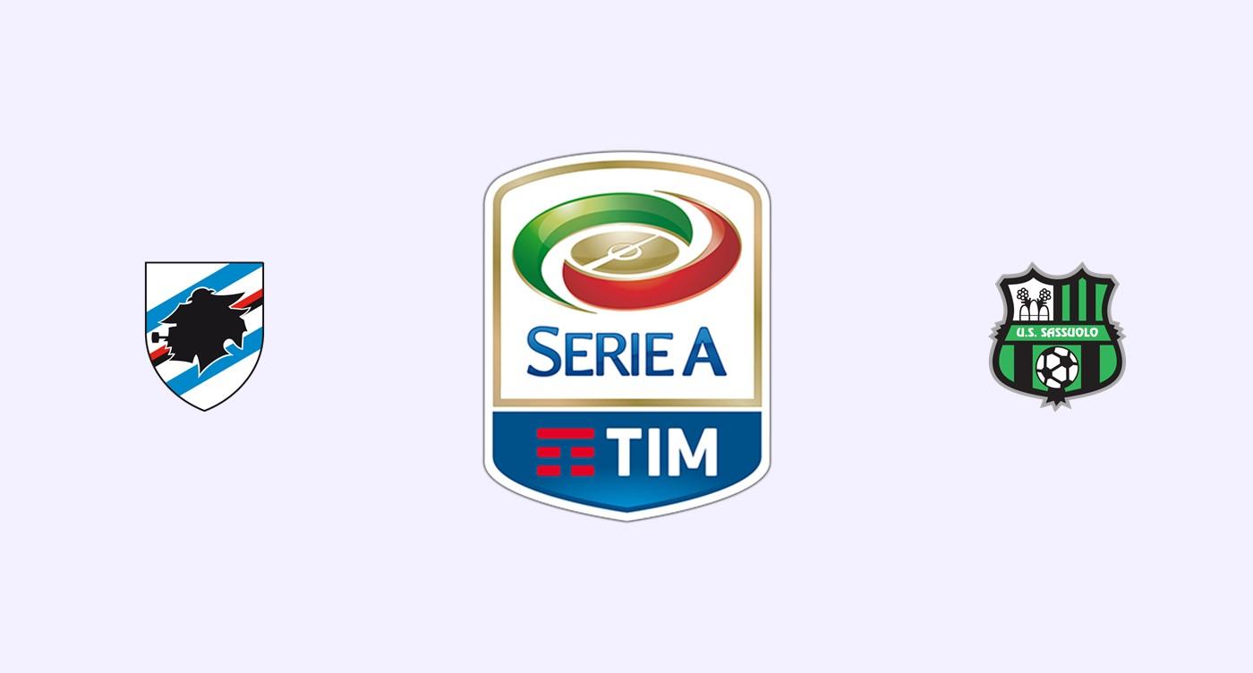 Sampdoria v Sassuolo Previa, Predicciones y Pronóstico
