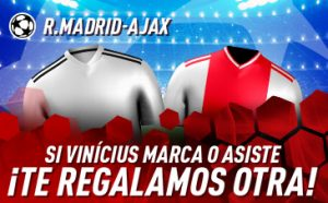 Real Madrid v Ajax apuesta gratis si Vinicius marca o asiste