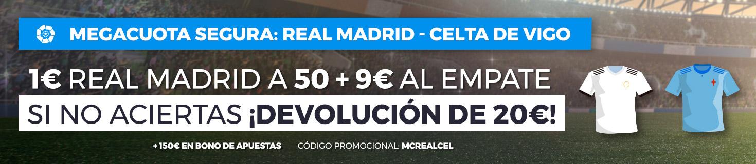 Real Madrid v Celta: 1€ a la victoria blanca a 50.0 + 9€ al empate y devolución