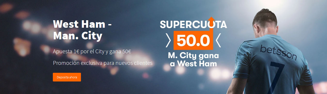 West Ham V Manchester City Supercuota Betsson 50