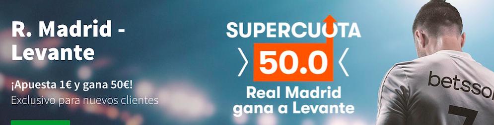 Real Madrid v Levante cuota mejorada Betsson