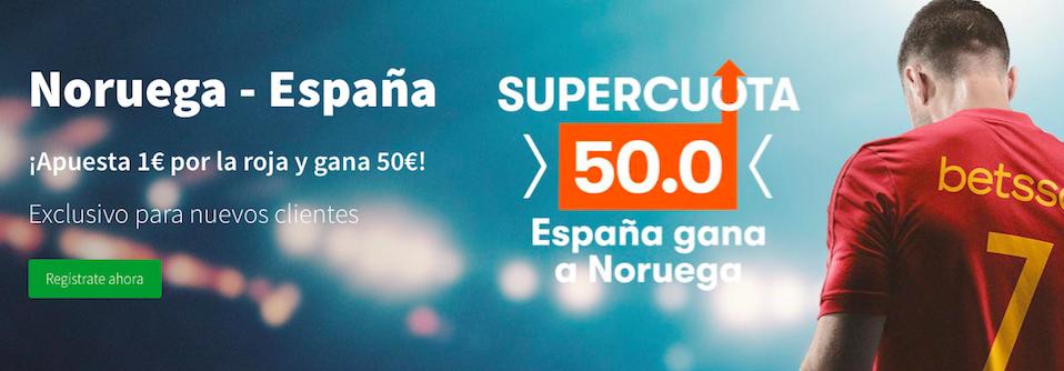 Noruega v España cuota mejoradaBetsson
