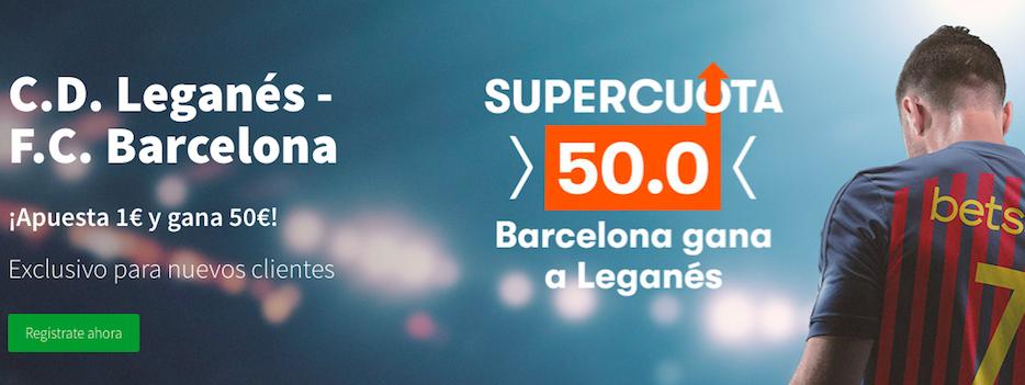 Leganés v Barcelona cuota mejorada Betsson