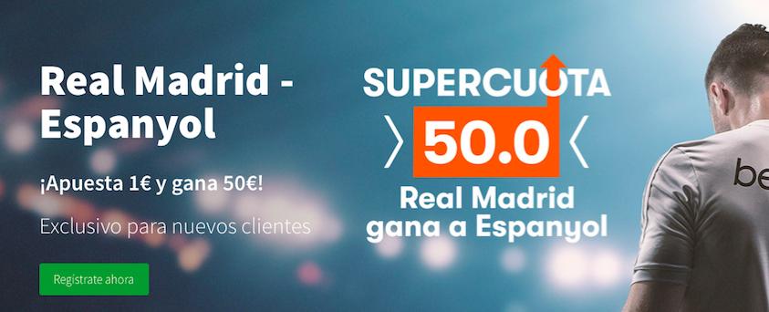 Real Madrid v Espanyol cuota mejorada Betsson