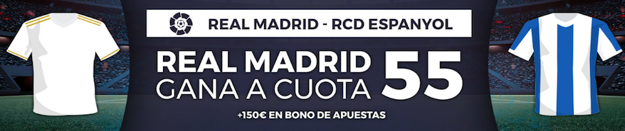 Real Madrid v Espanyol cuota mejorada Pastón