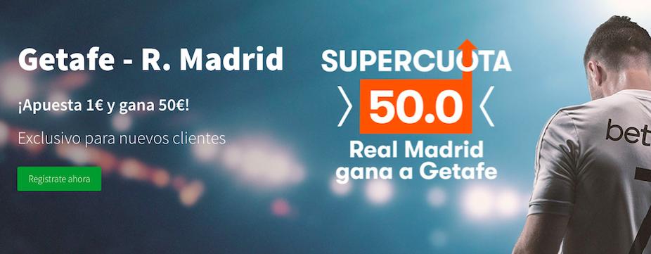 Getafe v Real Madrid cuota mejorada Betsson