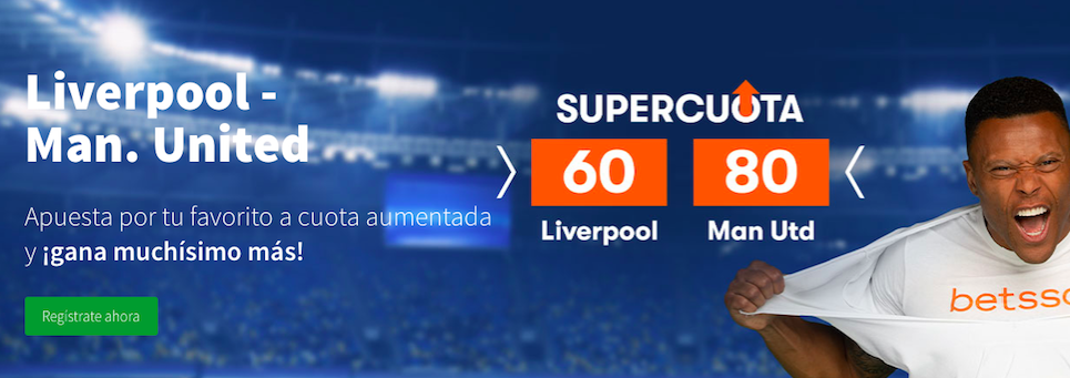 Liverpool v Manchester United cuota mejorada Betsson