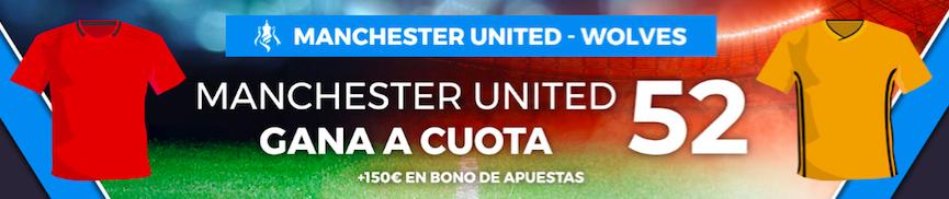 Manchester United v Wolverhampton cuota mejorada Paston