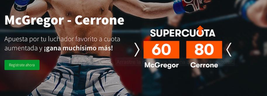 McGregor v Cerrone cuota mejorada Betsson