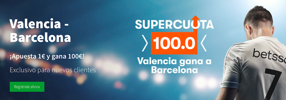 Valencia v Barcelona cuota mejorada Betsson