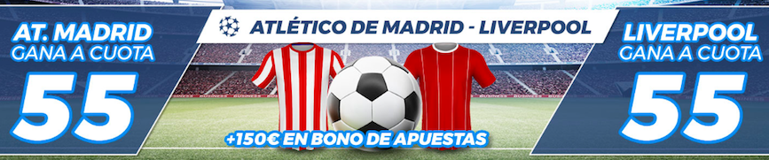 Atlético Madrid v Liverpool cuota mejroada Pastón