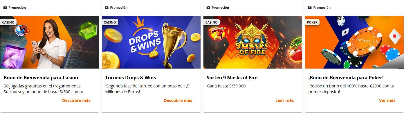 Betsson casino Perú Promociones