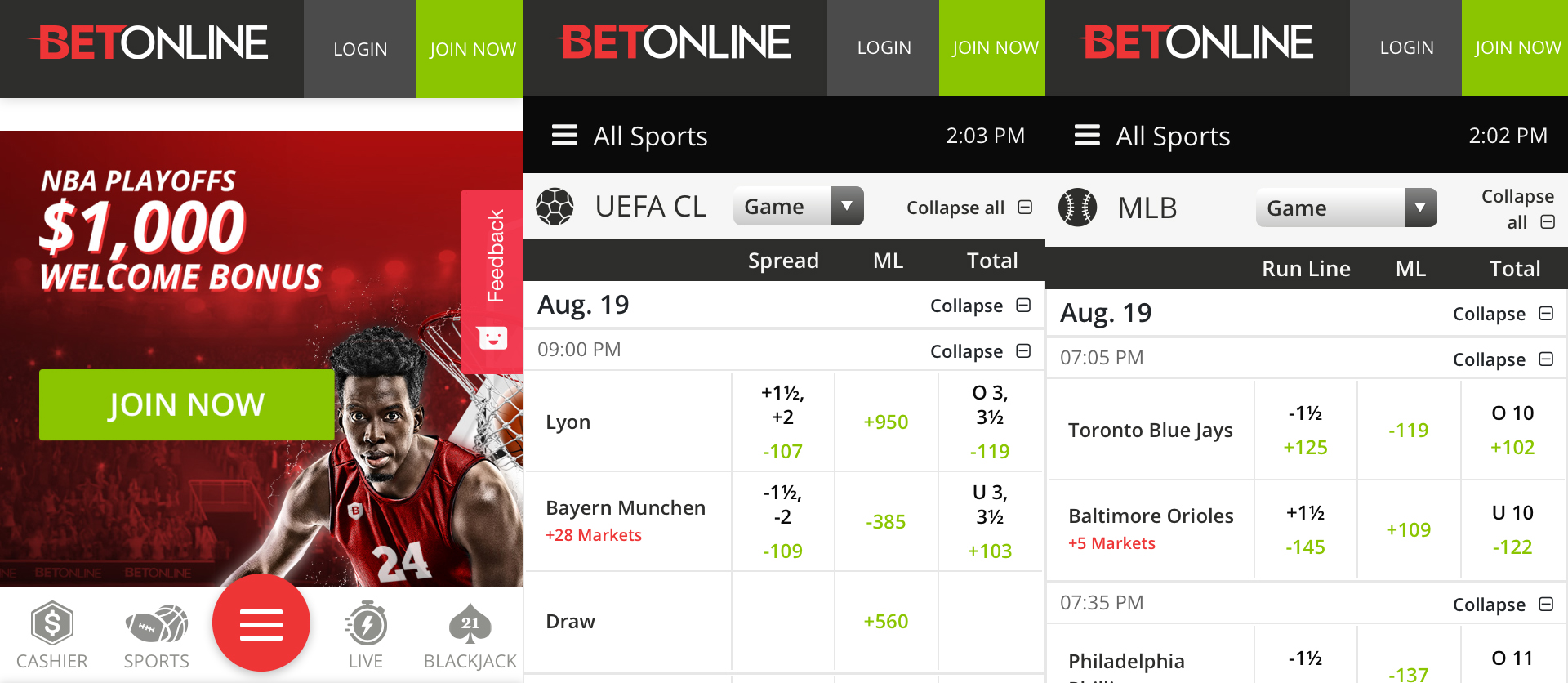 BetOnline sports betting app